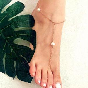 {BELLA} boho pearl anklet foot jewelry